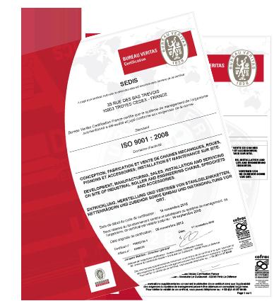 Sedis certifié ISO 9001